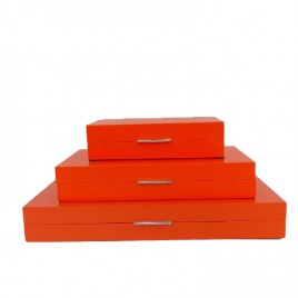 Lacquer Orange Painted Box set (3 pcs)