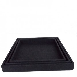 Leather serving tray in coffee color (3 pcs/set)