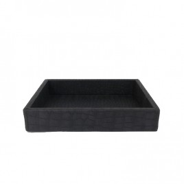 Light Grey Rectangular Leather Tray