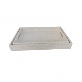 Light Grey Rectangular Leather Tray (2 pcs/set)