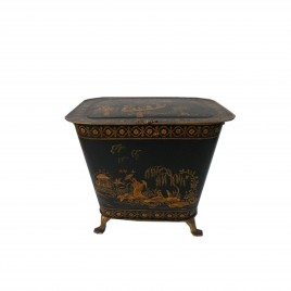 Coal Scuttle in Black w/Chinese Boat (ATOB)