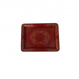 Hand Painted Chinoiserie Tray in Red