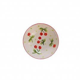 White Cherry Ceramic Plate (S)