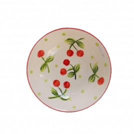 White Cherry Ceramic Plate (L)