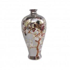 Cherry Blossom Silver Ceramic Vase (L)