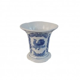 Blue and White Rooster Vase