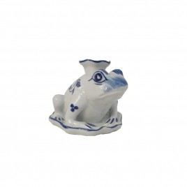 Blue & White Frog Candle Holder