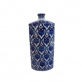 Blue & White Chinese Patterned Vase (L)