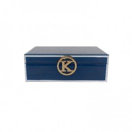 Blue Glass Jewellry Box w/ K Alphabet