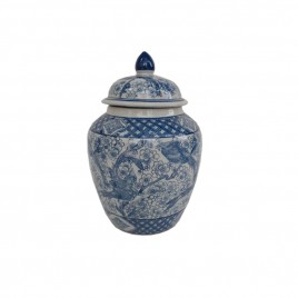 Blue & White Ceramic Lidded Jar (L)