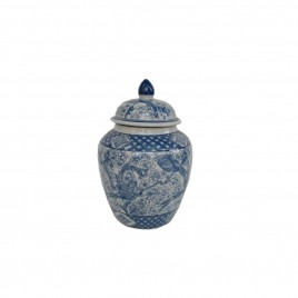 Blue & White Ceramic Lidded Jar (S)