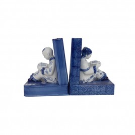 Blue & White Reading Chinese Bookend