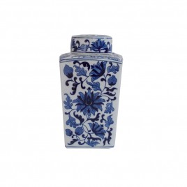 Blue & White Porcelain Ginger Jar w/ Lid