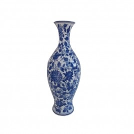 Floral Chinese Blue and White Vase