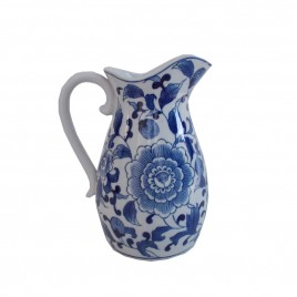 Floral Chinese Blue and White Pitcher