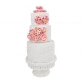 Pink Floral 2-tier White Ceramic Cake (L)
