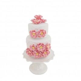 Pink Floral 2-tier White Ceramic Cake (S)