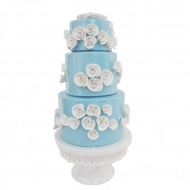 White Floral 2-tier Blue Ceramic Cake (L)