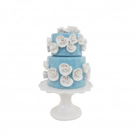 White Floral 2-tier Blue Ceramic Cake (S)