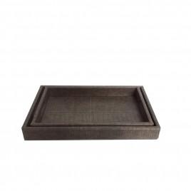 Light Grey Square Leather Tray (2 pcs/set)