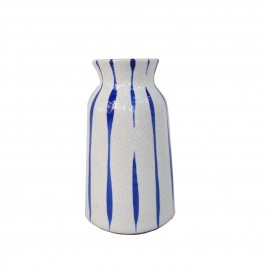 Ceramic Tie Dye Vase in Blue & White (S)