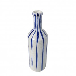 Ceramic Tie Dye Vase in Blue & White (M)