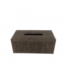 Mocha Leather Tissue Box