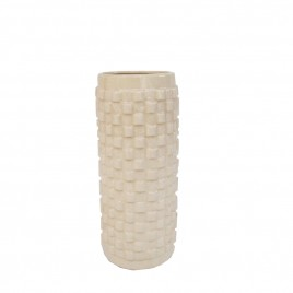Textured White Ceramic Vase (L)