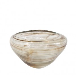Glass Vase w/ Swirl Brown Pattern