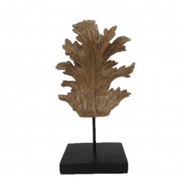 Antique Leaf Ornament on Stand (L)