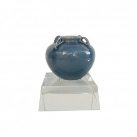 Cobalt Blue Ceramic Vase w/ Crystal Base