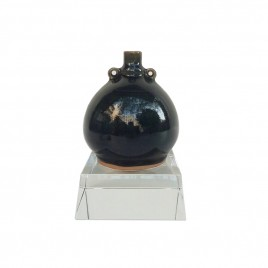 Indigo Blue Ceramic Vase w/ Crystal Base