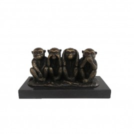 Bronze four wise monkey w/ base