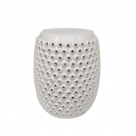 Bubble white ceramic drum stool