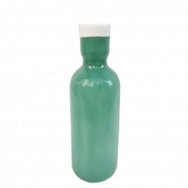 Green w/ white trim Glass Vase (Small)