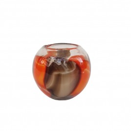 Round Paprika Brown Glass Vase