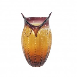 Brown Owl Glass Vase