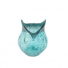 Blue Owl Glass Vase