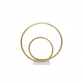 Gold Nickle Double Ring on Marble base