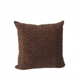 Wash Velvet Square Throw Pillow (Chocolate)