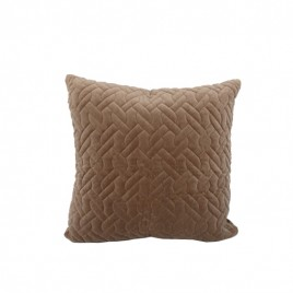 Wash Velvet Square Throw Pillow (Light Brown)