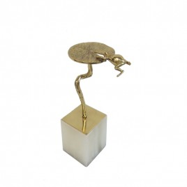Golden Frog with Marble Base