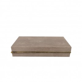 Faux Shagreen Box with Gold Trim  (S)