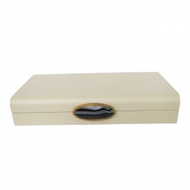 White painted box w/ natural stone handle  (L)