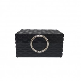 Black decorative box w/ silver handle  (S)