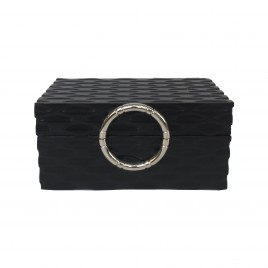 Black decorative box w/ silver handle (L)