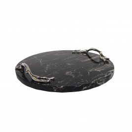 Black marble round tray w/ silver branch handle