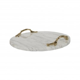 White marble round tray w/ gold branch handle