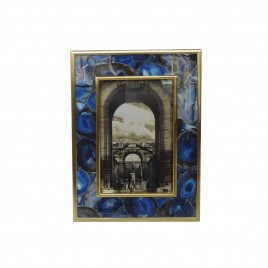 Blue agate w/ gold trim photo frame