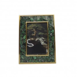 Green feather w/ gold trim photo frame